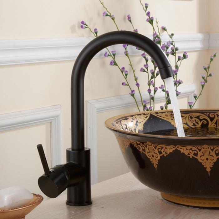 Cuivre salle de bains cuisine vier robinet noir chaude et for Moen robinetterie salle de bain