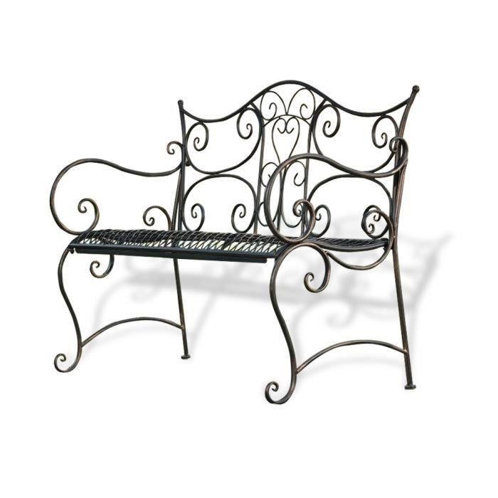 banc de jardin brun fer forg achat vente banc banc de jardin cdiscount. Black Bedroom Furniture Sets. Home Design Ideas