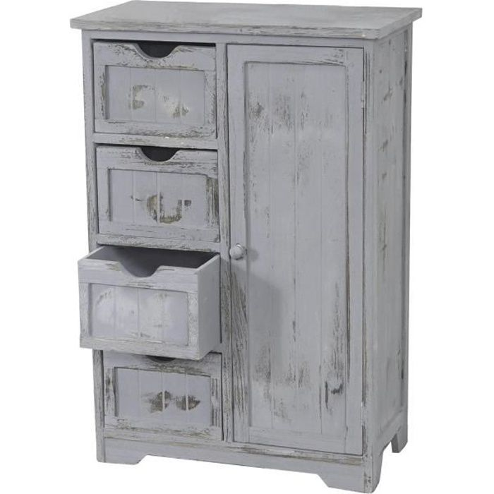 commode armoire 82x55x30cm shabby chic vintage gris achat vente commode de chambre. Black Bedroom Furniture Sets. Home Design Ideas