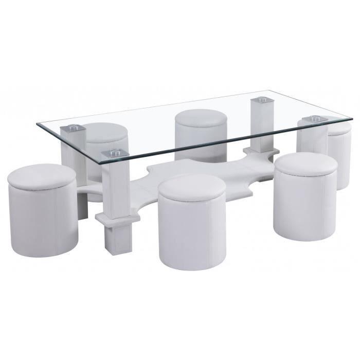 Table basse en verre avec 6 poufs pu blanc achat vente for Table verre 6 poufs