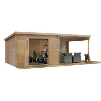 Abri de jardin 28mm 18m2 en bois trait toit plat 312 x 601 cm achat vente abri jardin for Abri de jardin en bois toit plat