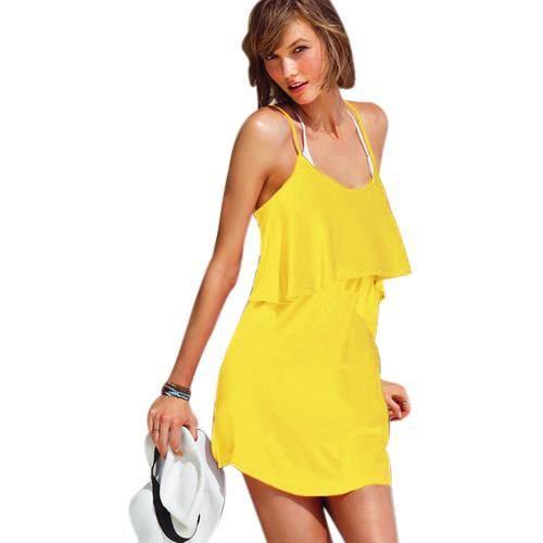 robe d 39 t dos nu pascaline jaune jaune achat vente robe cdiscount