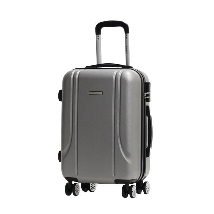 valise taille cabine 55cm alistair smart abs ultra l g re 4 roues gris argent achat. Black Bedroom Furniture Sets. Home Design Ideas