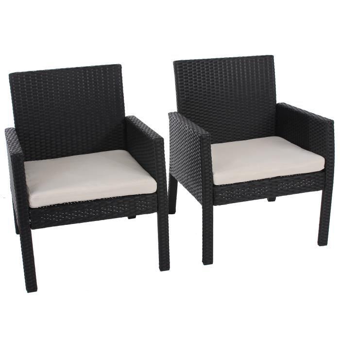 Lot de 2 fauteuils de jardin noir avec coussins achat - Coussins de fauteuil de jardin ...