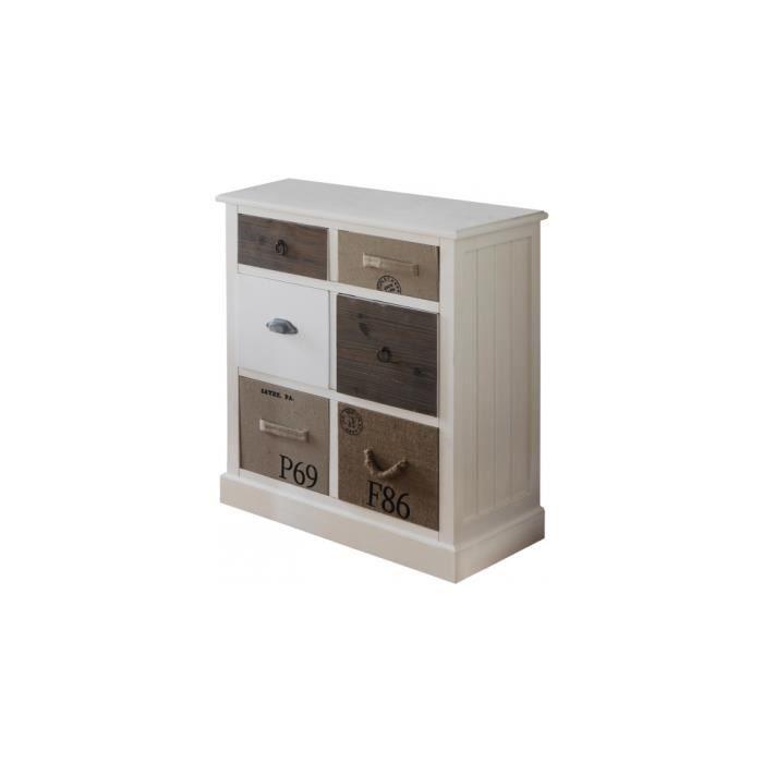 meuble de rangement sapin laqu blanc 6 tiroirs assortis. Black Bedroom Furniture Sets. Home Design Ideas