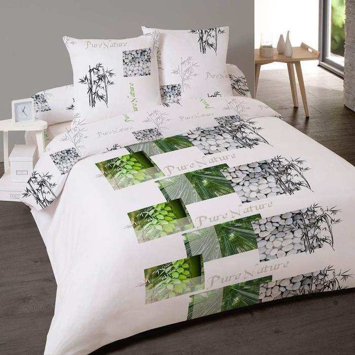 parure de lit 4 pi ces esprit pure nature pour lit deux personnes achat vente parure de drap. Black Bedroom Furniture Sets. Home Design Ideas