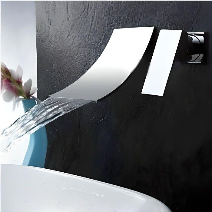 robinetterie sdb mitigeur robinet 2pcs cascade murale vier lavabo l - Mitigeur Mural Lavabo Encastre