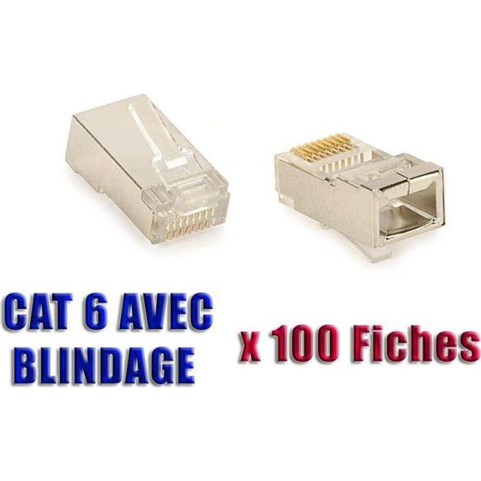 boite de 100 fiches sertir rj45 8p 8c blindees cat 6. Black Bedroom Furniture Sets. Home Design Ideas