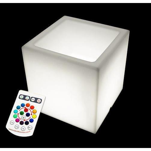 Cache pot cube lumineux led 40 cm sans fil achat vente for Cube lumineux exterieur sans fil