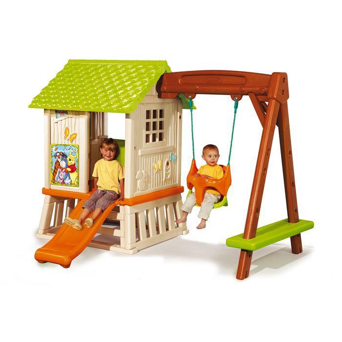 balancoire portique winnie l 39 ourson maison foresti re enfant cabane portique achat vente. Black Bedroom Furniture Sets. Home Design Ideas