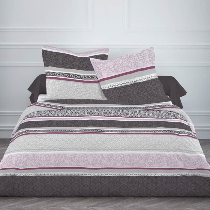 Housse de couette flanelle 220x240 2 taies purple patch for Housse couette flanelle