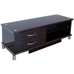 meuble tv bois noir achat vente meuble tv bois noir pas cher cdiscount. Black Bedroom Furniture Sets. Home Design Ideas