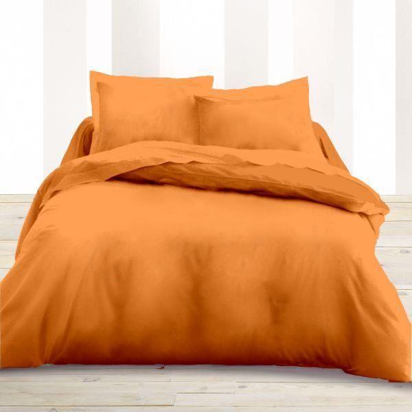 housse de couette 260x240cm couleur mandarine 59 achat vente housse de couette cdiscount. Black Bedroom Furniture Sets. Home Design Ideas