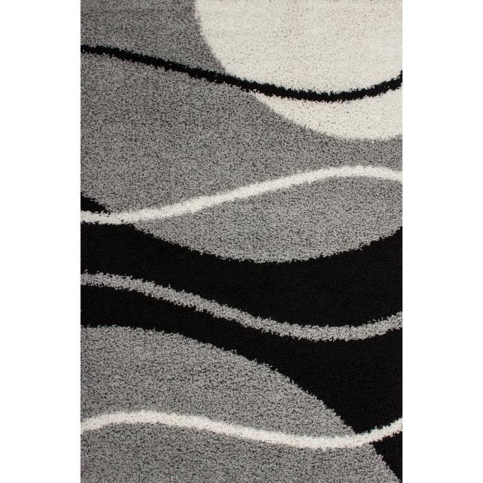 tapis shaggy design vague argent 45 mm 150x220 cm achat. Black Bedroom Furniture Sets. Home Design Ideas
