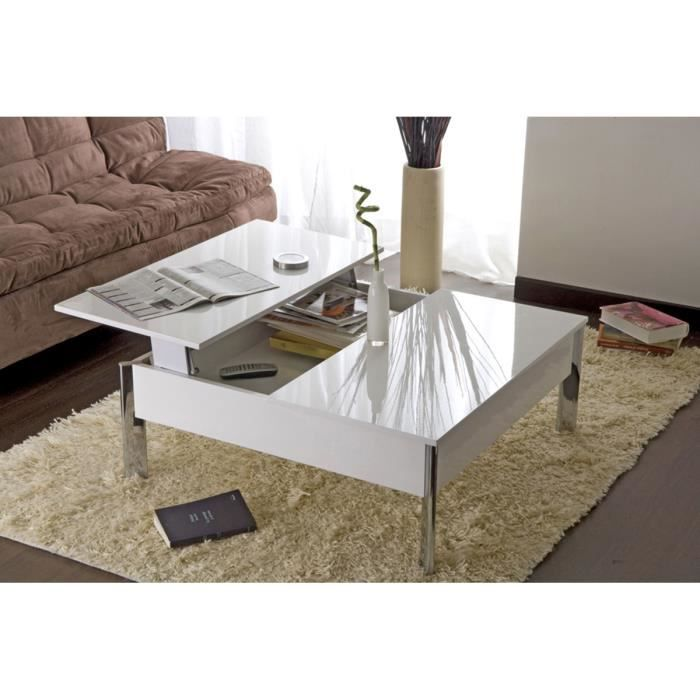 table basse relevable blanche aubas achat vente table. Black Bedroom Furniture Sets. Home Design Ideas