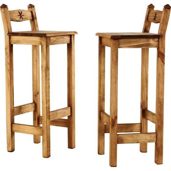 2x chaise de bar pin massif sculpt e edelweiss achat for Chaise en pin massif