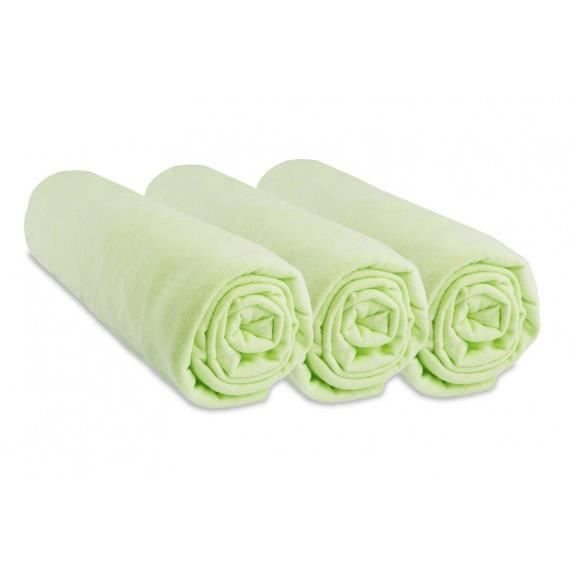 Lot 3 draps housse jersey coton 70x140 vert anis vert vert for Draps housse 70x140