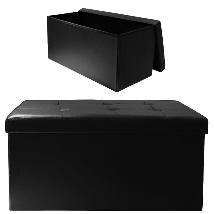 Coffre de rangement pliable arty simili noir noir achat vente coffre de r - Coffre de rangement noir ...