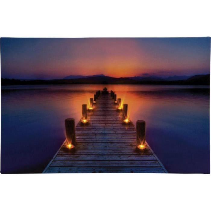 Tableau led ponton avec aube heitronic 34046 bigarr led - Tableau lumineux led leroy merlin ...