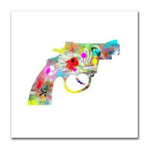 TABLEAU - TOILE Tableau revolver graffitis fond blanc  30 x 30 cm