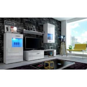 salon complet blanc laque achat vente salon complet blanc laque pas cher cdiscount. Black Bedroom Furniture Sets. Home Design Ideas