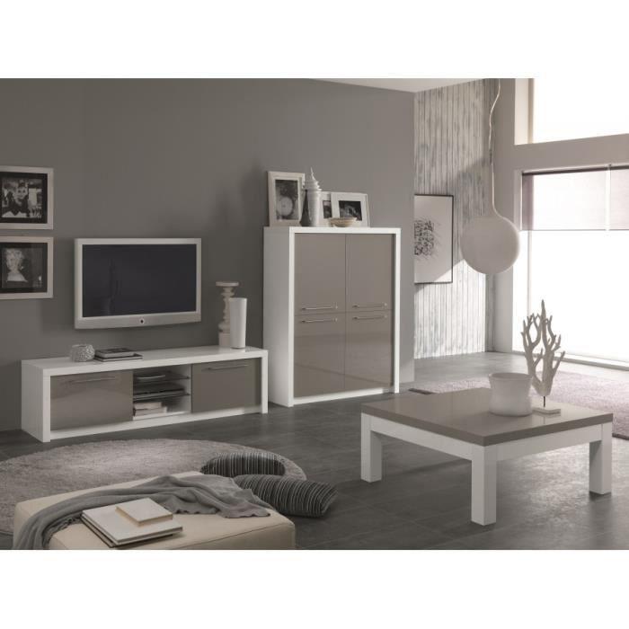 meuble t l 180 cm fano laqu blanc gris achat vente. Black Bedroom Furniture Sets. Home Design Ideas
