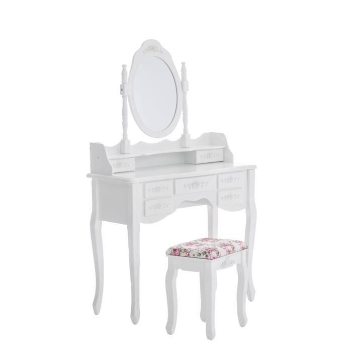 Coiffeuse blanche avec miroir et tabouret inclus achat for Coiffeuse blanche avec miroir