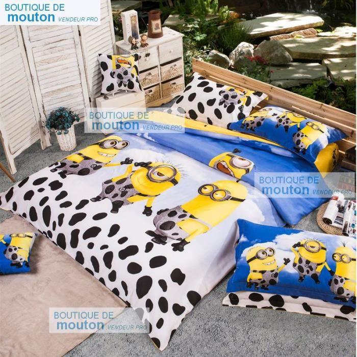 parure de lit minions vache laiti re coton 200 230 cm 4 piece achat vente housse de couette. Black Bedroom Furniture Sets. Home Design Ideas