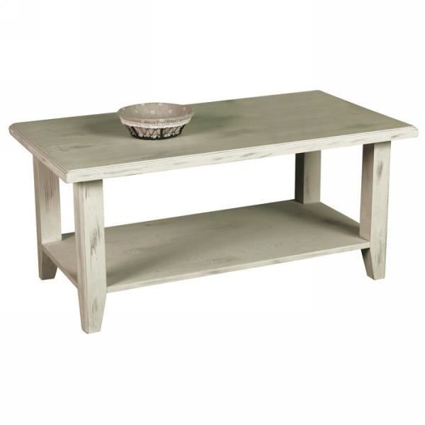 Table basse double plateaux pin massif c rus blanc sol a for Table basse bois blanc ceruse