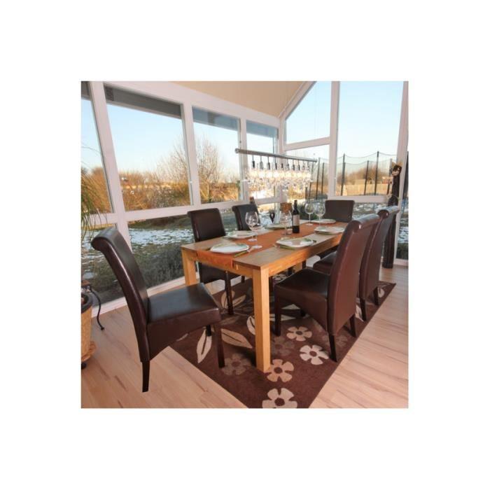 6 chaises de salle manger en cuir brun achat vente for Chaise de salle a manger brun