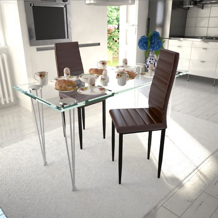 2pcs chaises en cuir artificiel de salle manger ou de cuisine ligne mince b - Salle a manger en ligne ...