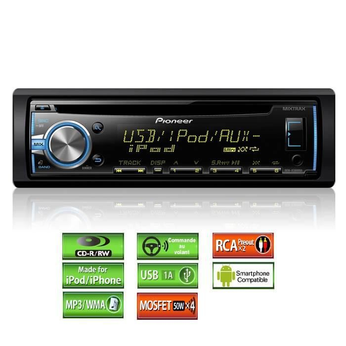pioneer deh x3800ui autoradio iphone ipod mixtra achat. Black Bedroom Furniture Sets. Home Design Ideas