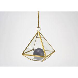 OBJET DÉCORATIF Terrarium triangulaire en verre et métal doré PM 2