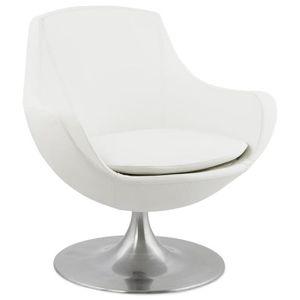 fauteuil pivotant blanc achat vente fauteuil pivotant blanc pas cher cdiscount. Black Bedroom Furniture Sets. Home Design Ideas