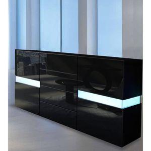 BUFFET - BAHUT  Buffet enfilade design noir 177 cm avec LED