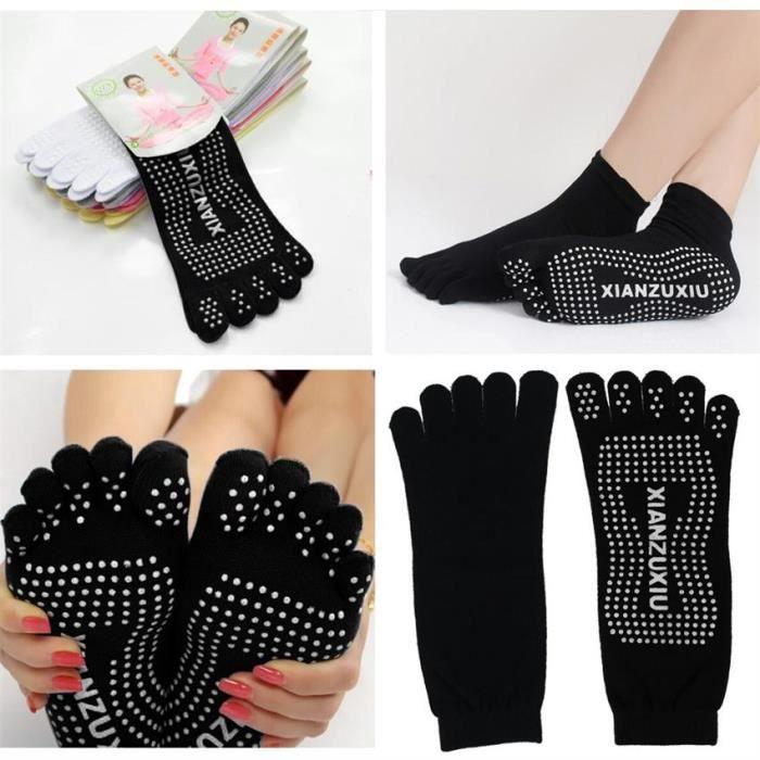 chaussettes yoga pilates 5 orteils antid rapant massage noir noir achat vente chaussettes. Black Bedroom Furniture Sets. Home Design Ideas
