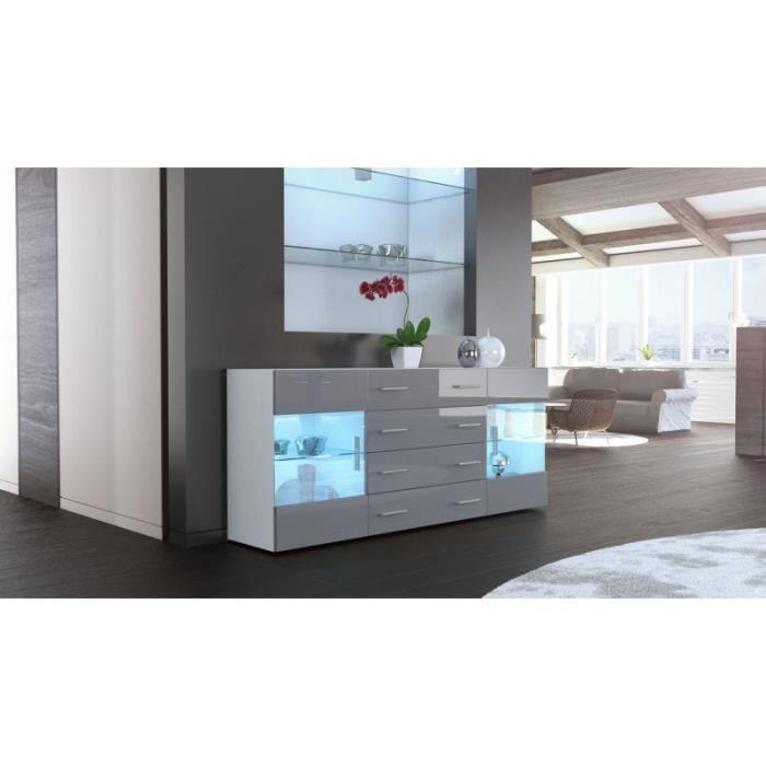 Buffet design laqu blanc et gris portes vitr es avec led achat vente buf - Buffet blanc laque led ...
