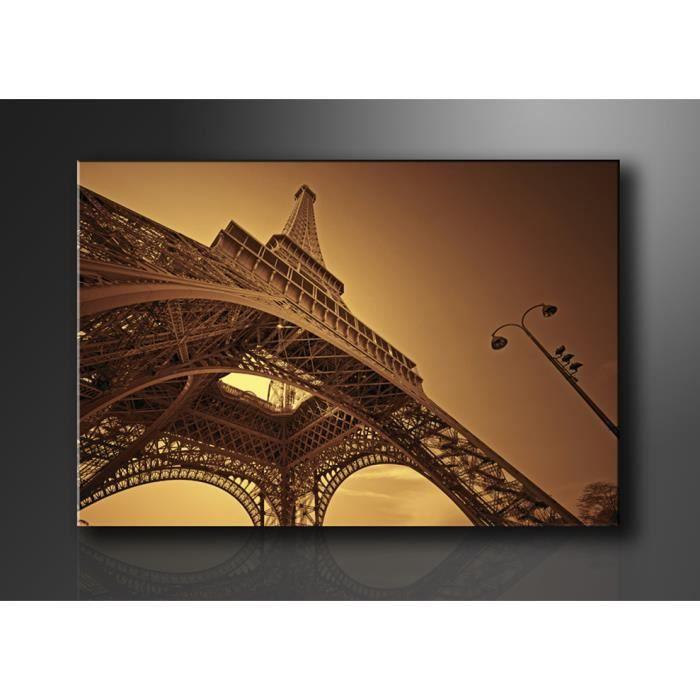 tableau imprim 120x80 cm tour eiffel achat vente tableau toile bois carton cdiscount. Black Bedroom Furniture Sets. Home Design Ideas