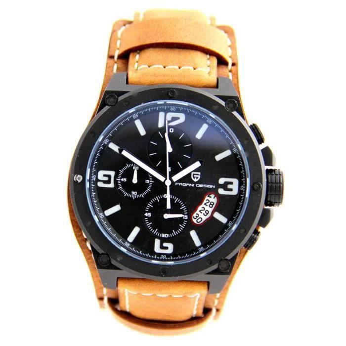 montre homme de luxe avec chrono bracelet cuir camel pagani 1374 achat vente montre homme. Black Bedroom Furniture Sets. Home Design Ideas