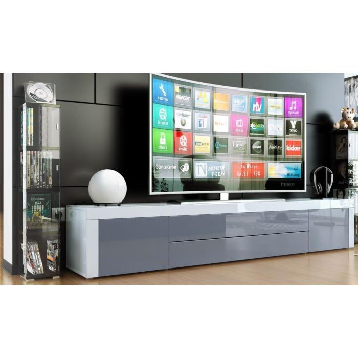 Meuble tv blanc gris 200cm achat vente meuble tv for Meuble tv blanc gris