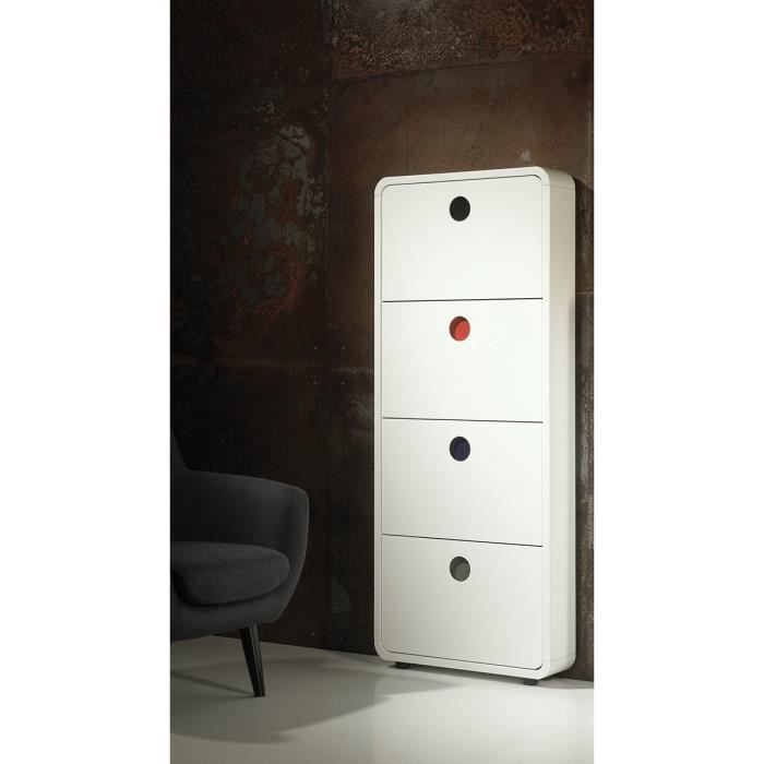 meuble chaussures design 4 portes circly atylia couleur blanc mati re mdf achat vente. Black Bedroom Furniture Sets. Home Design Ideas