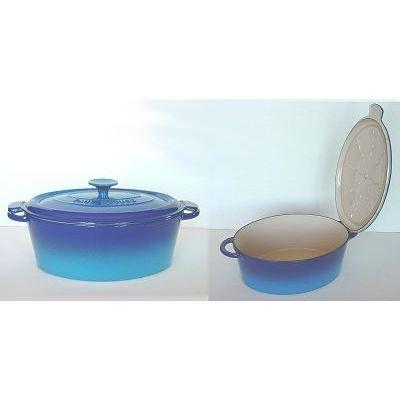 Cocotte ovale 29 cm bocuse mains libres bleue achat vente cocotte cocotte - Cocotte fonte paul bocuse ...