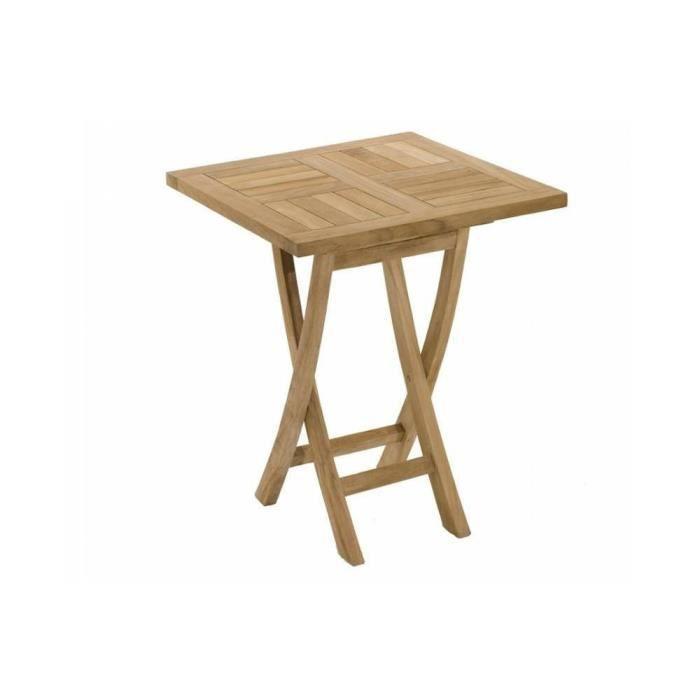 Table carr e pliante 60 60 cm en teck achat vente for Table basse 60 cm