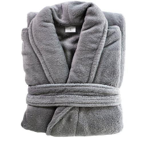 peignoir microfibre ultra doux coral gris taill achat vente peignoir cdiscount. Black Bedroom Furniture Sets. Home Design Ideas