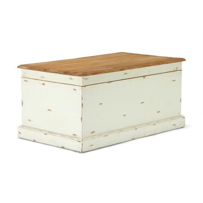 grand coffre landhaus 100x58 en bois mindi laqu blanc et miel massivum achat vente buffet. Black Bedroom Furniture Sets. Home Design Ideas