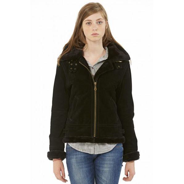 bombardier en cuir capuche gr noir noir achat vente manteau caban cdiscount. Black Bedroom Furniture Sets. Home Design Ideas