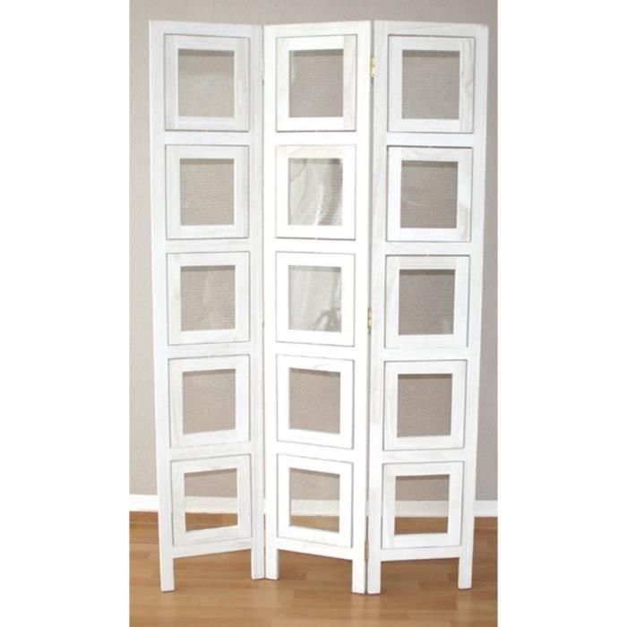 Paravent 3 panneaux blanc en bois avec 15 porte photos for Porte 3 panneaux