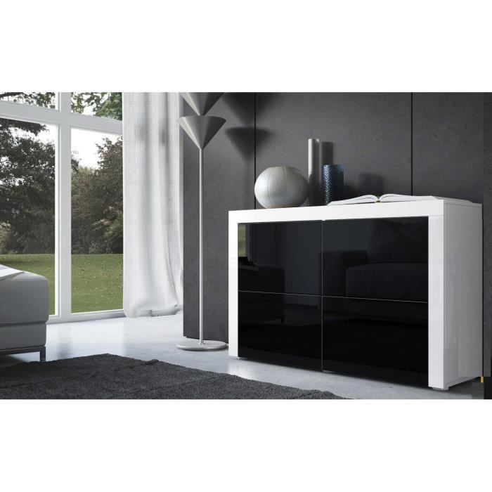 commode blanche et noire 110cm achat vente commode de. Black Bedroom Furniture Sets. Home Design Ideas