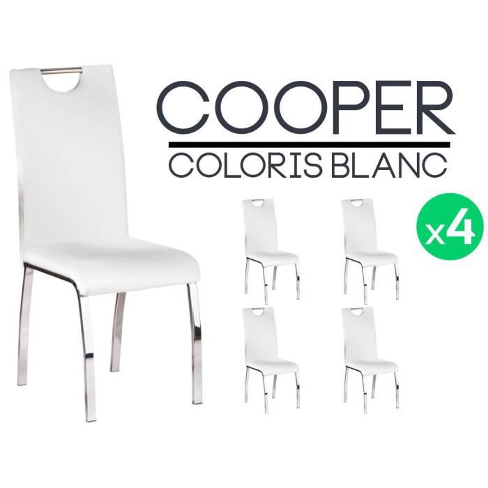 Cooper lot 4 chaises blanches achat vente chaise blanc cdiscount - Lot 4 chaises blanches ...