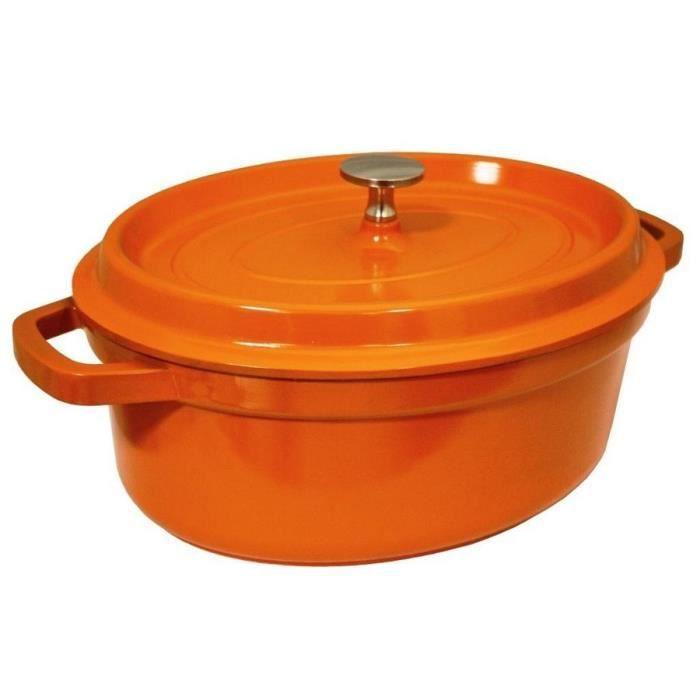 cocotte en fonte d 39 aluminium orange rouge 26 x achat. Black Bedroom Furniture Sets. Home Design Ideas